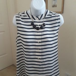 Blue and white striped casual blouse